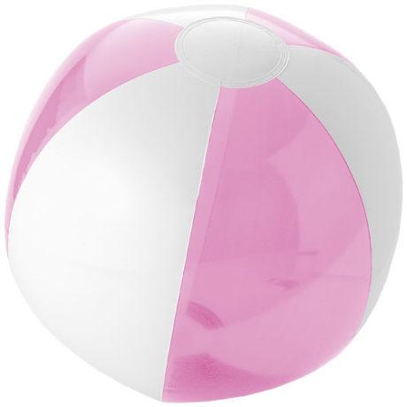 Ballon plastique de plage rose et blanc