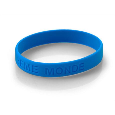 Bracelet silicone bleu personnalisable