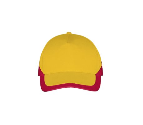 Casquette bicolore jaune et rouge