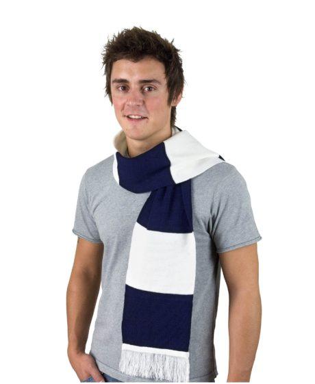 Echarpe tricot bleu marine et blanc
