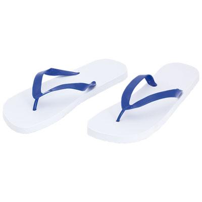 Tongs plage blanche et bleu