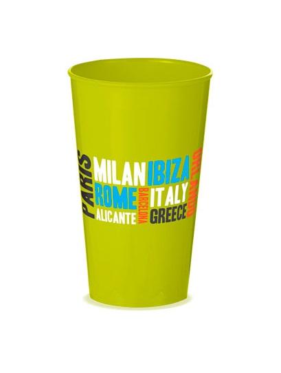 Verre plastique vert opaque personnalisable