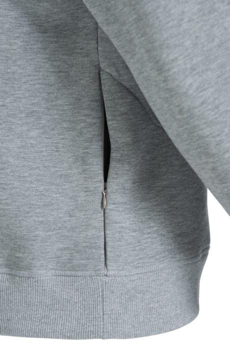 poche latéral fermeture sweat col rond gris