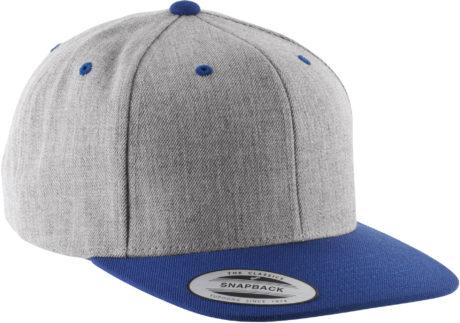 casquette snapback gris chiné et bleu