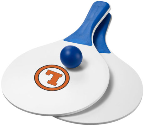 raquettes de plage blanche et bleu avec logo