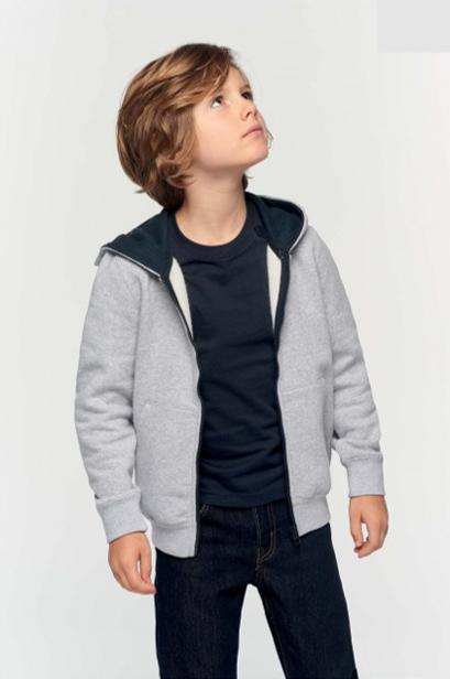 sweat shirt zippé bleu marine et gris personnalisable