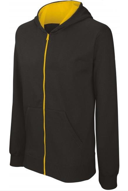 Sweat shirt zippé bicolore kid noir et jaune sur fond blanc