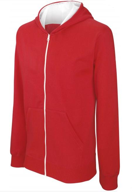 Sweat shirt zippé bicolore kid rouge-blanc sur fond blanc