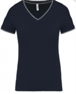 tee-shirt maille piquee col v femme