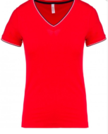 tee-shirt maille piquee col v femme rouge