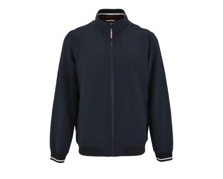 veste zip col tricolore en bleu nuit