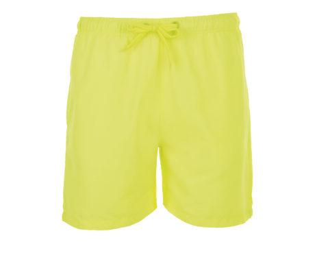 Short de bain jaune fluo sur fond blanc
