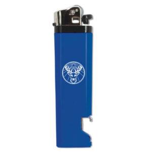 Briquet bleu avec logo blanc