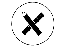 icone crayon et regle noir