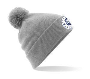 Bonnet gris avec logo blanc et bleu