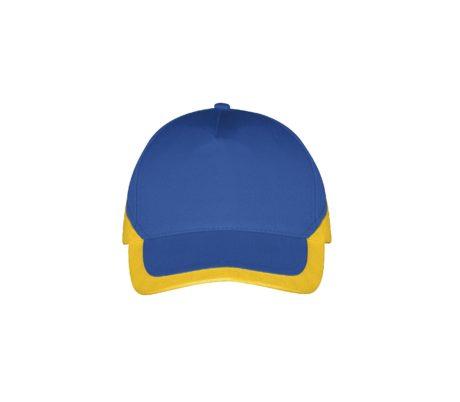 Casquette bicolore bleu et jaune