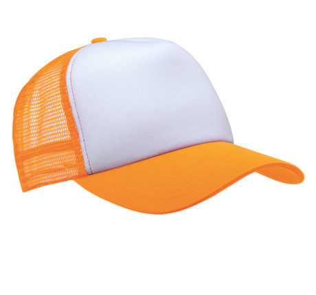 Casquette filet orange fluo-blanc