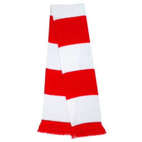 Echarpe tricot rouge et blanche