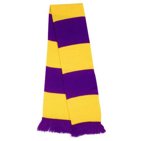 Echarpe tricot violette et jaune