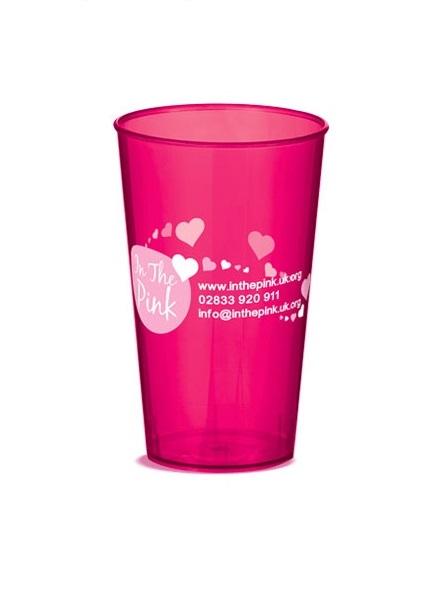 Verre plastique rose transparent personnalisable