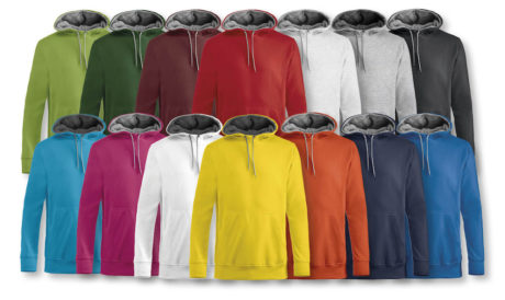 couleurs disponibles sweat à capuche bicolore