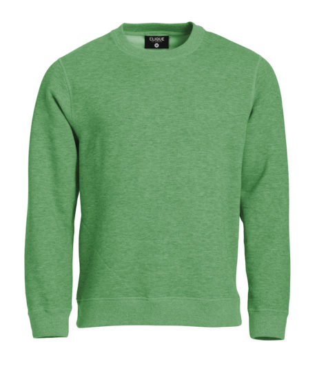 sweat col rond vert chiné