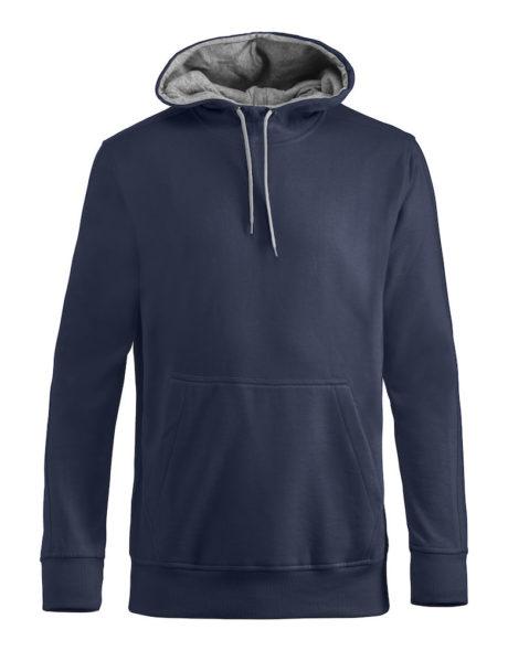 Sweat à capuche bleu marine et gris