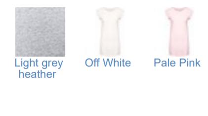 Couleurs disponibles pour tee shirt robe femme