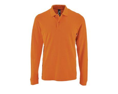 Polo piqué manches longues orange sur fond blanc