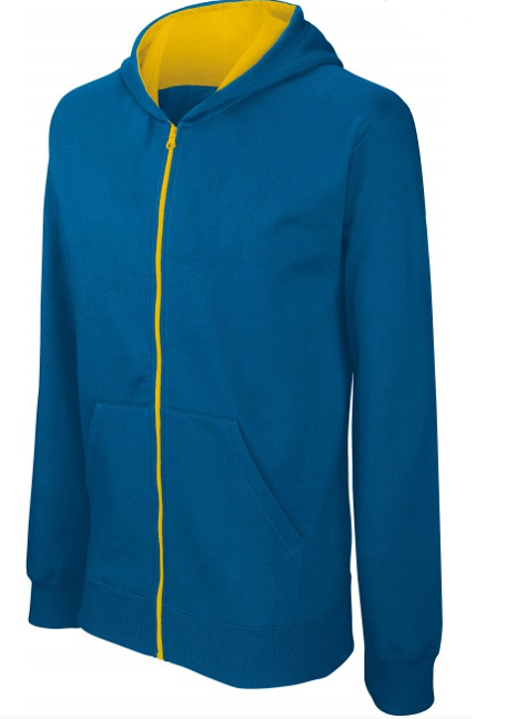 Sweat shirt zippé bicolore kid bleu-jaune sur fond blanc