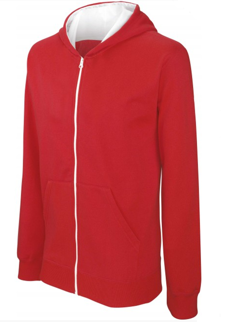 Sweat shirt zippé bicolore kid rouge-blanc sur fond blanc