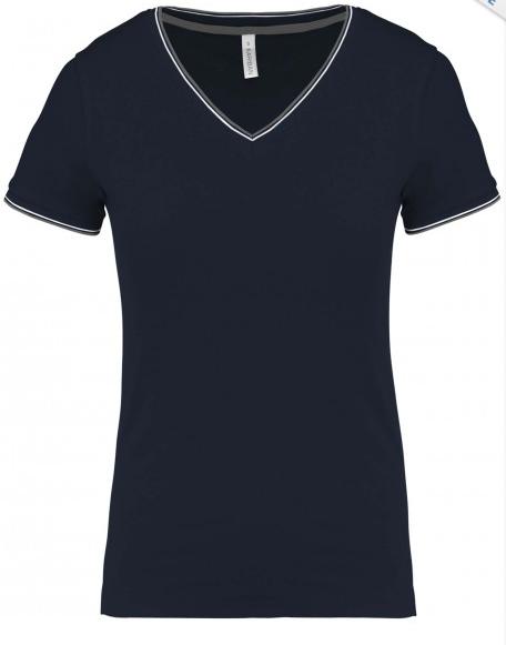 tee-shirt col v femme bleu nuit