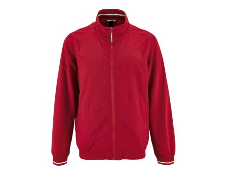 veste zip col tricolore en rouge