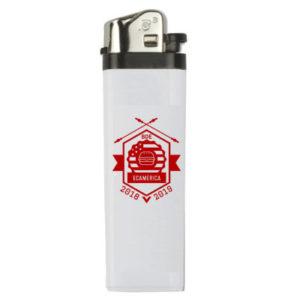 Briquet blanc avec logo rouge