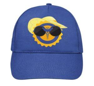 Casquette bleu avec logo jaune et noir